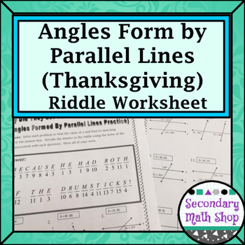 Parallel Lines - Angles Formed by Parallel Lines Thanksgiv