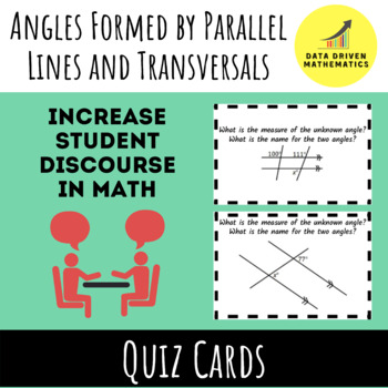 Angles Formed by Parallel Lines and Transversals Quiz Cards Activity
