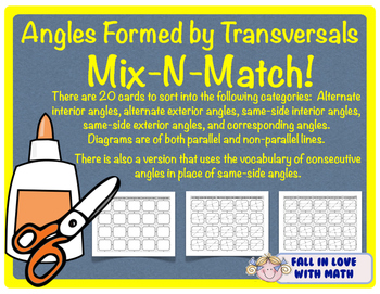 Angles Formed by Transversals Mix-N-Match!
