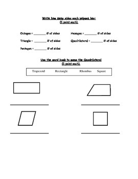 Angles, Geometry, Polygons, Quadrilaterals Test