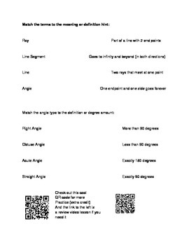 Angles Homework and Review Worksheet