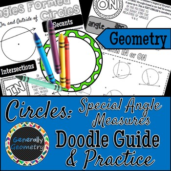 Angles IN, ON & OUTSIDE of Circles Doodle Guide & Practice Worksheet
