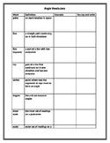 Angles Interactive Vocabulary List