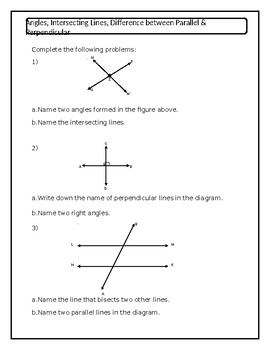 Angles, Intersecting Lines, Parallel & Perpendicular