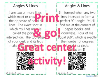 Angles & Lines Task Cards with QR Codes {Self-checking Math Center}