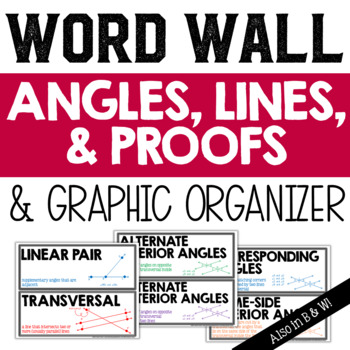 Angles, Lines, and Proofs Vocabulary Word Wall and Graphic