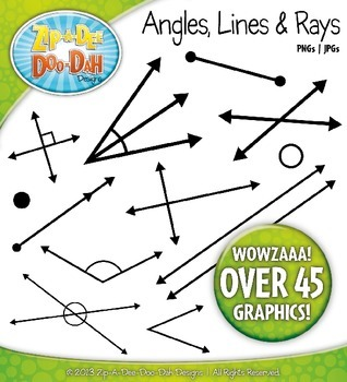 Angles, Lines and Rays Clip Art Set — Over 50 Graphics