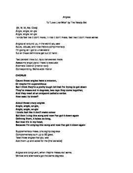 Angles Math Song
