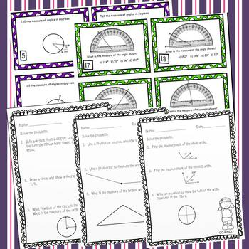 Angles - 48 Task Cards & 10 *NO PREP* Worksheets 4th Grade Common Core Aligned