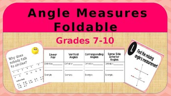 Angles Measures Foldable and Task Cards