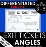 Angles - Measuring Angles Exit Tickets - Differentiated As