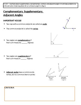 Angles Notes (Complementary, Supplementary, Vertical, Adjacent & Triangle Rel.)