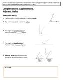 Angles Notes (Complementary, Supplementary, Vertical, Adja