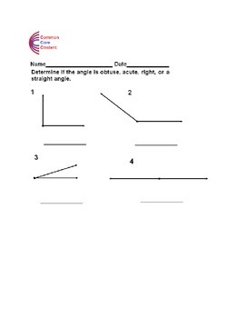 Angles -Obtuse, Acute, Right, and Straight Angles Common Core 4.G.A.1 4.MD.C.5