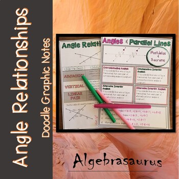 Angles, Parallel Lines & Transversal Geometry Packet Doodle Notes
