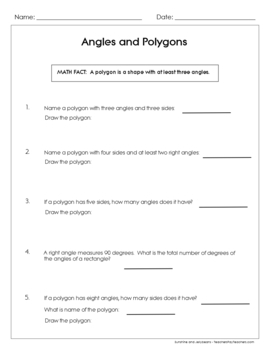 Angles & Polygons Worksheets - set of 3 - Geometry Basics