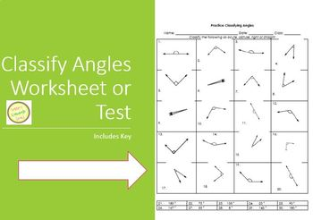 Angles - Practice Classifying as Acute, Obtuse, Right or Straight Worksheet