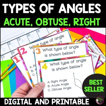 Geometry - Angles :Right, Obtuse or Acute Task Cards