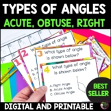 Types of Angles Task Cards Acute  Obtuse  Right | Digital