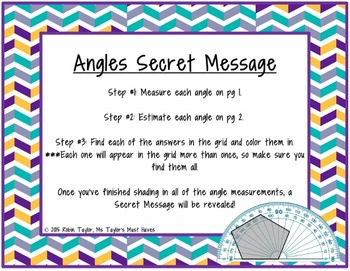 Angles Secret Message (Measuring angles with a protractor)