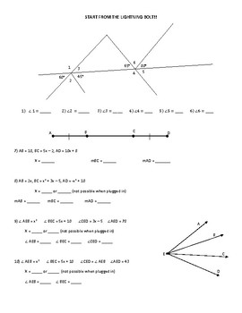 Angles/Segments Connect the Dots Activity (Includes Angles/Segment Addition)