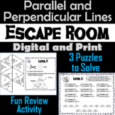 Angles/ Slopes of Parallel and Perpendicular Lines: Geometry Escape Room - Math