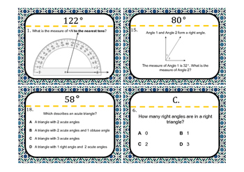 Angles Test-Prep Task Cards (GRADE 4)