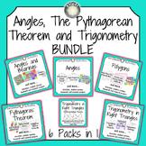 Angles, The Pythagorean Theorem and Trigonometry BUNDLE