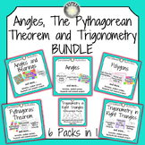 Angles, The Pythagorean Theorem and Trigonometry BUNDLE