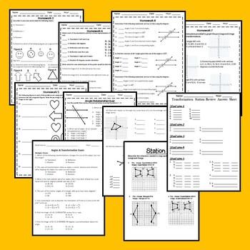 Angles & Transformations Bundle {8.G.1, 8.G.2, 8.G.3, 8.G.4, 8.G.5} EDITABLE