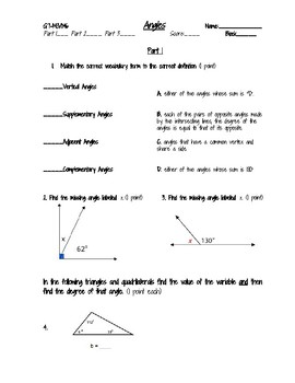 Angles/Triangles Assessment