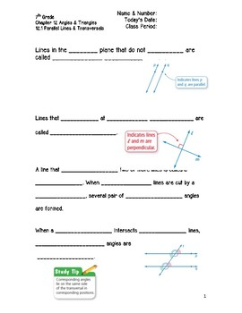 Angles & Triangles Guided Notes Big Ideas Math Red: 7th Grade Accel   Chapter 12
