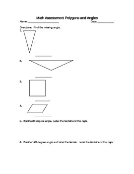 Angles, Triangles, and Quadrilaterals Math Test