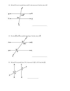 Angles Unit Test - Grade 8