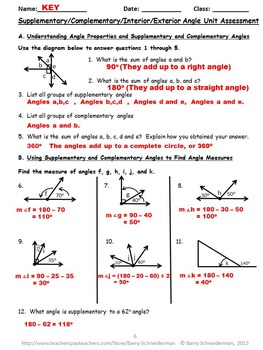 Angles Untangled! - Supplementary, Exterior, Interior Angles Unit Assessment