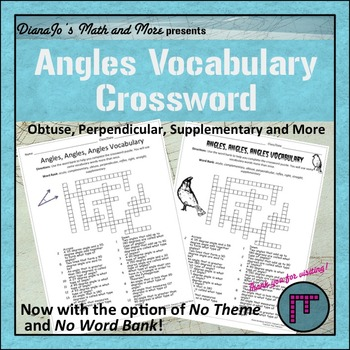 Angles Vocabulary Crossword Puzzle by DianaJo\'s Math and More | TpT