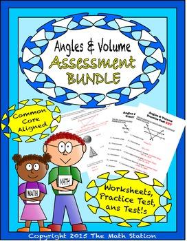 Angles & Volume Worksheets & Test - 8th Grade