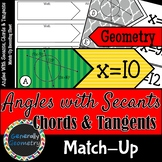 Angles With Secants, Chords & Tangents Match-Up; Geometry, Circles
