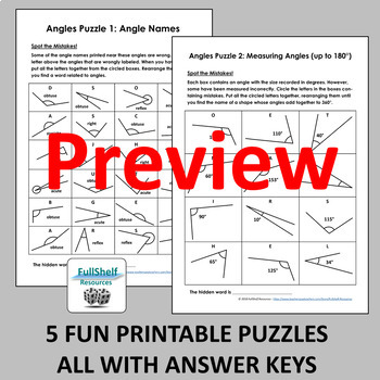 Angles Review Worksheets (Puzzles)