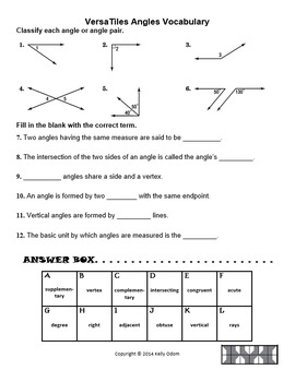 Angles and Angle Pairs Vocabulary for VersaTiles SOL2016 8.5  TpT