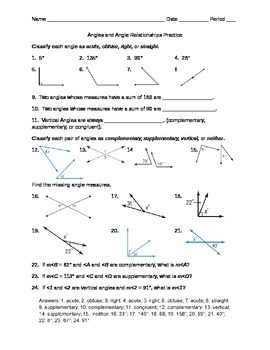 Angles and Angle Relationships Practice by Mrs Ws Math ...