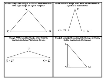Angles and Area Practice Cards