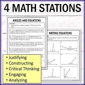 Angles and Equations Math Stations  :  Middle School Math Stations