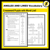 Angles and Lines Geometry Vocabulary Crossword Puzzle