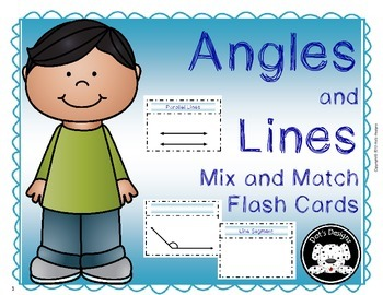 Angles and Lines Mix Match Flash Cards with Quiz