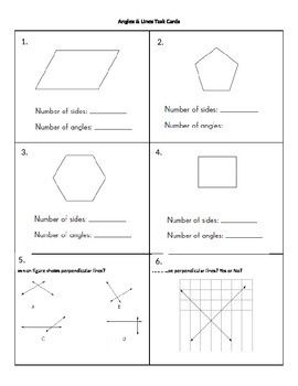 Angles and Lines Task Cards