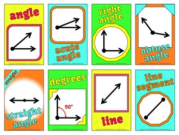 Angles and Lines Vocabulary Cards
