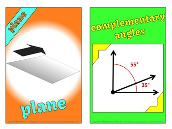 Angles and Lines Vocabulary Cards and Word Wall