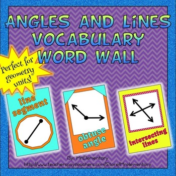 Angles and Lines Vocabulary Word Wall