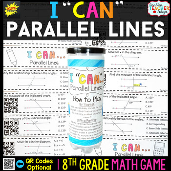 Angles and Parallel Lines Eighth Grade Math Game